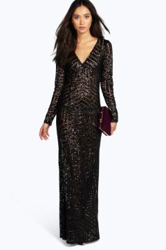 Boohoo Boutique €54 - Mia Sequin & Mesh Plunge Neck Maxi Dress http://bit.ly/1UVuIbP
