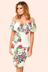 Jessica Wright @ Next €96 - Off The Shoulder Floral Frill Bodycon Dress http://ie.nextdirect.com/en/gl61396s7#L46124