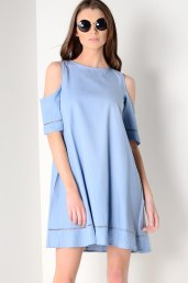 Dresses.ie €27 - Chambray Cold Shoulder Swing Dress https://www.dresses.ie/dress-chambray-cold-shoulder-swing-dress-D186477/