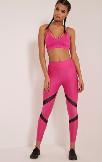 Pretty Little Thing Katy Hot Pink Mesh Panel Gym Leggings, €28 https://ie.prettylittlething.com/katy-hot-pink-mesh-panel-gym-leggings.html