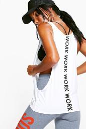 Boohoo Maisy Work Slogan Running Vest, €14 http://www.boohoo.com/boohoo-fit/maisy-work-slogan-running-vest/invt/dzz76096
