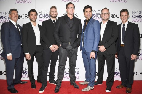 (L-R) Jeff Franklin, actors Juan Pablo Di Pace, John Brotherton, Bob Saget, John Stamos, Dave Coulier and Scott Weinger