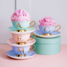 Glitz N Pieces €19.90 - Alphabet Tea Cup & Saucer Set http://glitznpieces.com/product/alphabet-tea-cup-saucer-set/