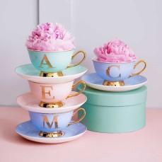 Glitz N Pieces €19.90 - Alphabet Tea Cup & Saucer Set http://glitznpieces.com/product/alphabet-tea-cup-saucer-set/