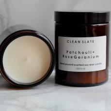 Moss Cottage €19 - Clean Slate Patchouli and Rose Geranium Soy Candle http://moss.ie/collections/candles/products/clean-slate-patchouli-rose-geranium-soy-candle