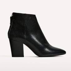 Zara €59.95 - Embossed Leather High Heeled Ankle Boots http://bit.ly/2m8ENqh