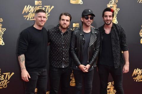 Zack Merrick, Rian Dawson, Alex Gaskarth, and Jack Barakat of All Time Low