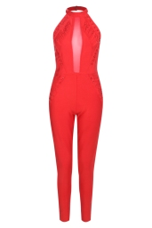 Boohoo Premium Penelope Halter Lace Up Mesh Skinny Leg Jumpsuit, €88 http://bit.ly/2vzajU8