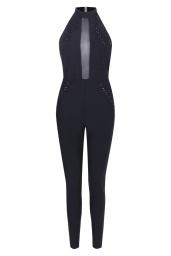 Boohoo Premium Ava Halter Lace Up Mesh Skinny Leg Jumpsuit, €88 http://bit.ly/2vwb6UK