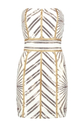 Boohoo Premium Anna Chevron Sequin Bandeau Mini Dress, €95 http://bit.ly/2vo5Vqq