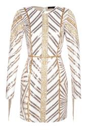 Boohoo Premium Leah Chevron Sequin & Pearl Long Sleeve Dress, €108 http://bit.ly/2uqJa0E