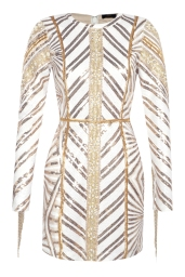 Boohoo Premium Leah Chevron Sequin & Pearl Long Sleeve Dress, €108 http://bit.ly/2uqJa0E
