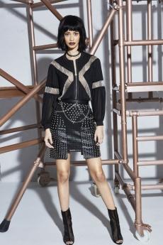 Boohoo Premium Alexis Chain Front Pleated Sleeve Bomber €61 Arabella PU Studded Zip Through Skirt €68