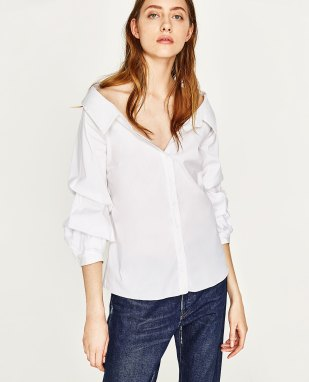 Zara Wide Open Neck Shirt with Puffy Sleeves, €39.95 http://bit.ly/2uhOcxs