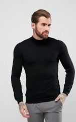 ASOS Muscle Fit Merino Turtle Neck Jumper In Black, €40.54 http://bit.ly/2B1stNA