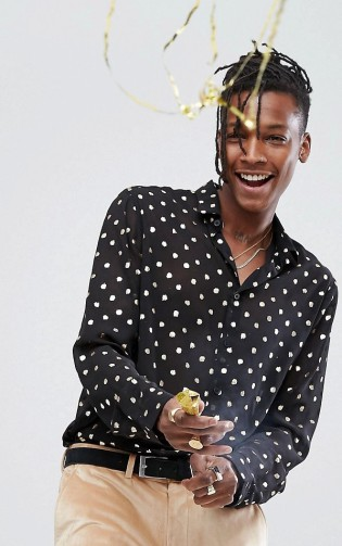 ASOS Regular Fit Sheer Shirt With Gold Foil Polka Print And Bell Sleeves, €40.54 http://bit.ly/2zROtMI
