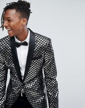 ASOS Skinny Blazer In Black Velvet With Silver Sequins, €114.86 http://bit.ly/2jFjPQE