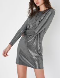Black Metallic Stripe Shoulder Pad Dress, River Island, €45 http://bit.ly/2AyF2ir