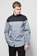 Boohoo Long Sleeve Colour Block Shirt