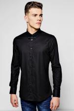 Boohoo Slim Fit Stretch Bar Collar Shirt