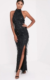 Maya Black Sequin Fishtail Maxi Dress, PrettyLittleThing, €67.50 http://bit.ly/2ywpQSt