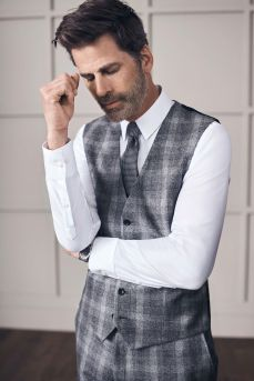 Next Grey Signature Wool Check Slim Fit Suit- Waistcoat, €79 http://bit.ly/2hFmxl2