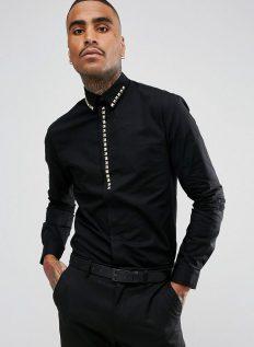 Noose & Monkey Skinny Smart Shirt With Studs €60.81 http://bit.ly/2zTZV8z