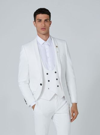 Noose & Monkey White 'Ellroy' Skinny Three Piece Suit, €288 http://bit.ly/2zSa6wM