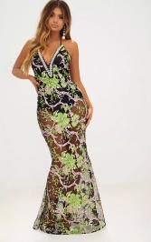 Premium Green Embroidered Floral Halterneck Maxi Dress, PrettyLittleThing, €119 http://bit.ly/2jm0dB8