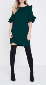 Green Frill Faux Pearl Neck Swing Dress, River Island, €75 http://bit.ly/2AxJCNZ
