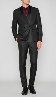River Island Grey Metallic Dogtooth Skinny Suit Jacket, €65 http://bit.ly/2iuROIa