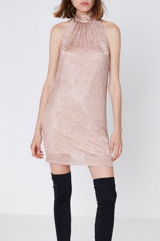 Rose Gold Halter Neck Knit Mini Dress, River Island, €45 http://bit.ly/2jm1uIq