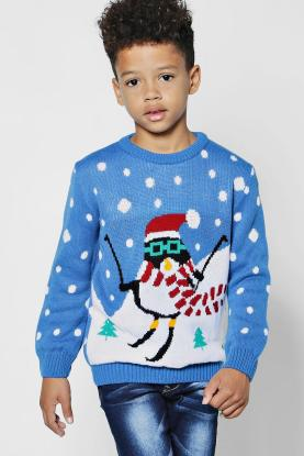 Boys Skiing Penguin Christmas Jumper, Boohoo, €19 http://bit.ly/2C5WRH5
