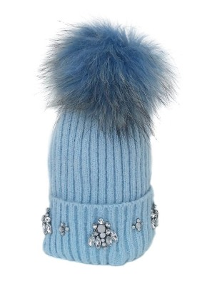 Glitz N Pieces Pom Pom Hat with Embellishment Baby Blue, €35 http://bit.ly/2y7VZhS