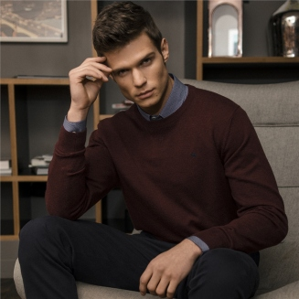 Burgundy Faugher Cotton Structure Crew Neck Sweater, Magee 1866, €85 http://bit.ly/2A96HXz