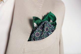 Green & Pink Medallion Silk Pocket Square, Mr. Jenks, €30 http://bit.ly/2BRqeMC