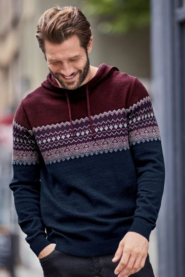 Navy/Burgundy Fairisle Pattern Hoody, Next, €42 http://bit.ly/2kQW08Y