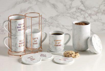 Next Set Of 4 Marble Effect Stacking Mugs, €26 http://bit.ly/2B4ESUk