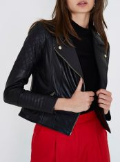 River Island Black Leather Quilted Biker Jacket, €161 http://bit.ly/2ETBIjX