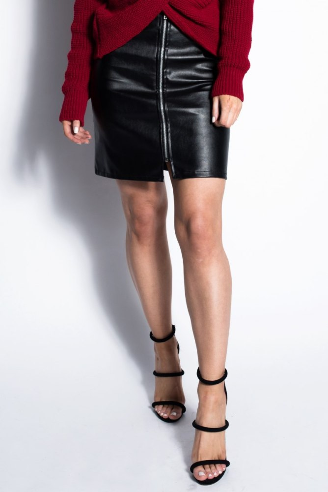 Dresses.ie Black Zip Through PU Mini Skirt