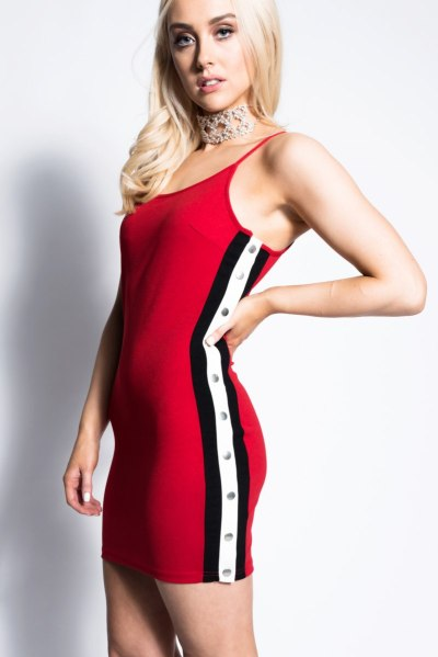 Dresses.ie Red Side Stripe Bodycon Mini