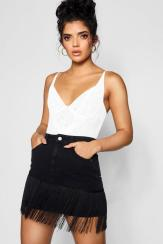 Boohoo Fringe Denim Skirt, €21