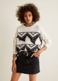 Mango Recycled Cotton Fringed Sweater, €35.99