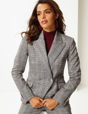 Marks & Spencer Per Una Cotton Blend Checked Double Breasted Blazer, €110