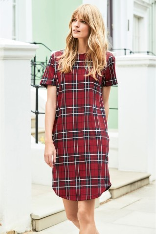 Next Red Check T-Shirt Dress, €30
