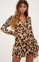 PrettyLittleThing Leopard Print Satin Long Sleeve Wrap Dress, €45