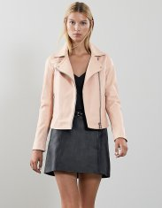 Reiss Gia Leather Biker Jacket in Apricot, €535