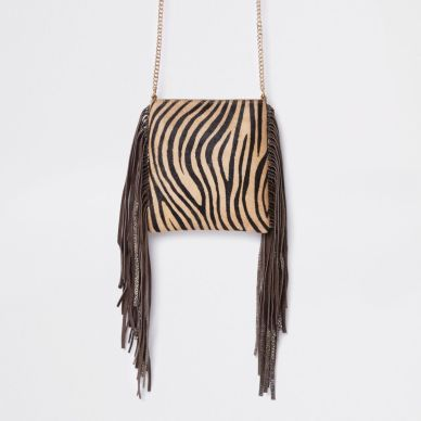 River Island Beige Leather Zebra Print Mini Crossbody Bag, €55