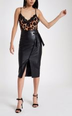 River Island Black Faux Leather Wrap Tie-Up Pencil Skirt, €50