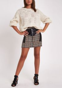 River Island Brown Check Faux Leather Block Mini Skirt, €45 http://bit.ly/2OsJu9m